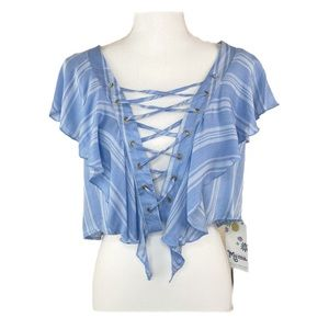 Show Me Your MuMu Small Blue Asure Lace Up Top NEW